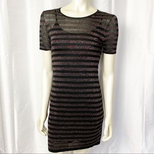 Trina Turk Sparkle Stripe Short Dress Gilttery